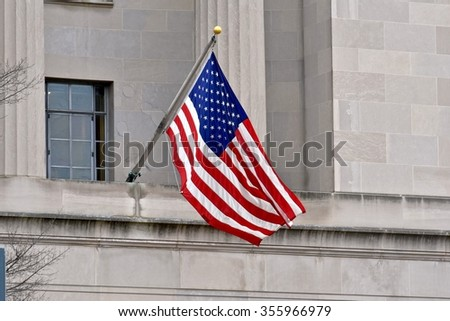WASHINGTON DC, USA - DECEMBER 27, 2015: Tourist attractions at the National Mall. The National Mall is a national park in downtown Washington, D.C. - stock photo