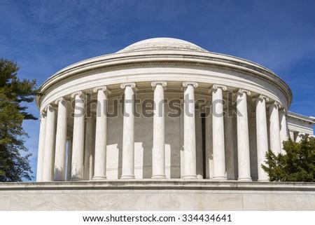WASHINGTON, DC, USA - MARCH 18, 2015: Jefferson Memorial, bronze statue of Thomas Jefferson. - stock photo