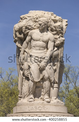 WASHINGTON, DC, USA - MARCH 30, 2016: Labor section of John Ericsson National Memorial. - stock photo