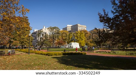 WASHINGTON, DC USA - NOVEMBER 9, 2011: Lafayette Park, also known as Lafayette Square.