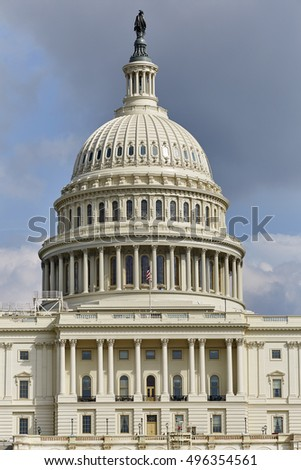 Washington DC, USA - October 1, 2016: US Capital Building close up of Dome with US Flag