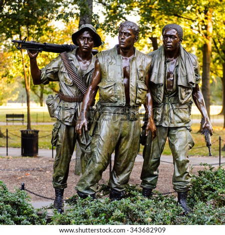 WASHINGTON DC, USA - SEP 24, 2015: Vietnam Veterans Memorial, Washington D.C.. Vietman War occurred in Vietnam, Laos, and Cambodia from 1955 to 1975