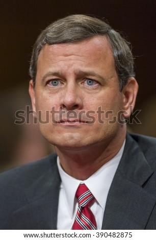 WASHINGTON, DC, USA - SEPTEMBER 13, 2005: U.S. Supreme Court nominee Judge John G. Roberts Jr. testifies before Senate Judiciary Committee during confirmation hearings to be Chief Justice.