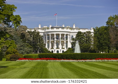WASHINGTON, DC, USA - The White House, south portico and south lawn. 07 October 2008 - stock photo