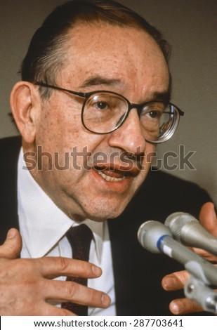 WASHINGTON, DC, USA - U. S. Federal Reserve Chairman Alan Greenspan. February 1992 - stock photo