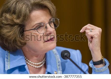 WASHINGTON, DC, USA - U. S. Senator Dianne Feinstein (D-CA) during confirmation hearing, U. S. Supreme Court nominee Judge John Roberts. - stock photo