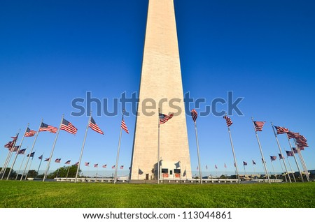 Washington DC, Washington Monument in a clear sky - stock photo