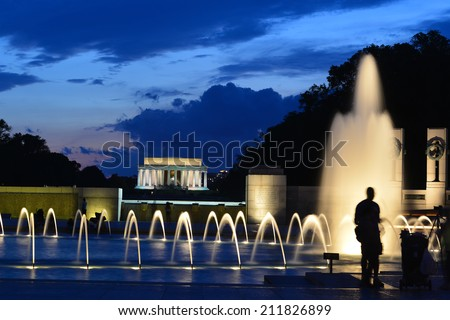 Washington DC - World War II Memorial and Lincoln Memorial at night  - stock photo