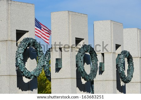 Washington DC, World War ii Memorial details - stock photo
