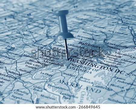 Washington destination in the map - stock photo