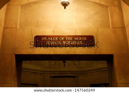 WASHINGTON -Â?Â? FEBRUARY 23: A sign over an entrance to the Speaker'Â?Â?s Rooms in the US Capitol building on March 30, 2013. The sign bears the name of John A. Boehner, the current Speaker of the House. - stock photo