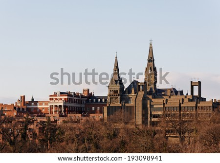 WASHINGTON � FEBRUARY 20: The campus of Georgetown University located in Washington, DC on February 20, 2013. Georgetown University is a private research university founded in 1789. - stock photo