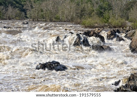 Washington Great Falls landscape view on sunny spring day - stock photo