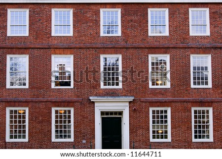 Washington Hall in Harvard university campus, Cambridge, MA - stock photo
