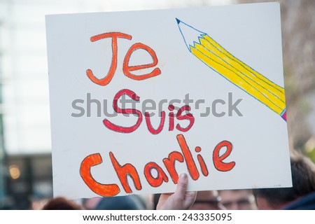 WASHINGTON - JANUARY 11: A sign during a silent protest against the terror attacks in Paris in Washington, DC on January 11, 2015 - stock photo