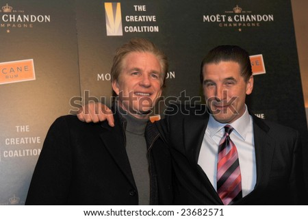 WASHINGTON - JANUARY 20: Actors Matthew Modine and Billy Baldwin arrive at the Creative Coalition dinner on behalf of the presidential inauguration on January 20, 2009 in Washington. - stock photo