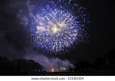 WASHINGTON - July 4: Fireworks are lighting the sky above the Lincoln Memorial in Washington on July 4, 2009. This was the culmination of Independence Day festivities in the capital. - stock photo
