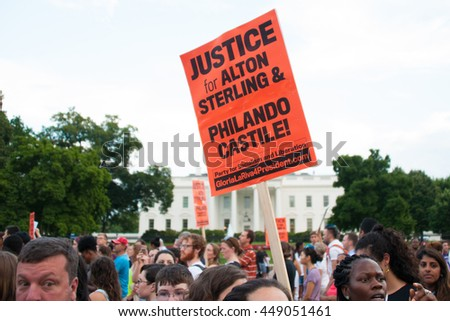 WASHINGTON JULY 7:  Protesters march against police brutality and racism during a rally in front of the White House in Washington, DC on July 7, 2016 - stock photo