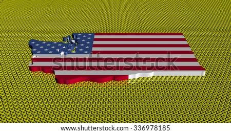 Washington map flag on golden dollars coins illustration - stock photo