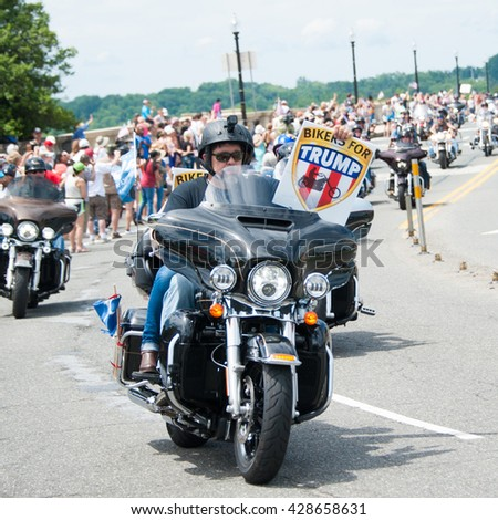 WASHINGTON - MAY 29:  A rider shows his support for presumptive Republican presidential candidate Donald Trump at the Rolling Thunder rally on May 29, 2016 in Washington, DC - stock photo