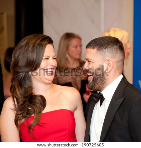 WASHINGTON MAY 3 � Guillermo Diaz and Katie Lowes share a laugh on the red carpet at the White House Correspondents� Association Dinner May 3, 2014 in Washington, DC - stock photo