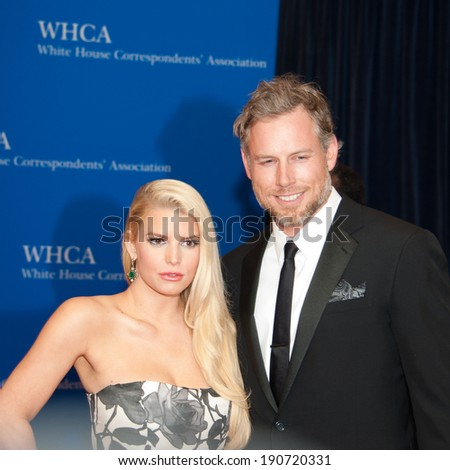 WASHINGTON MAY 3 � Jessica Simpson and fiance Eric Johnson arrive at the White House Correspondents� Association Dinner May 3, 2014 in Washington, DC - stock photo