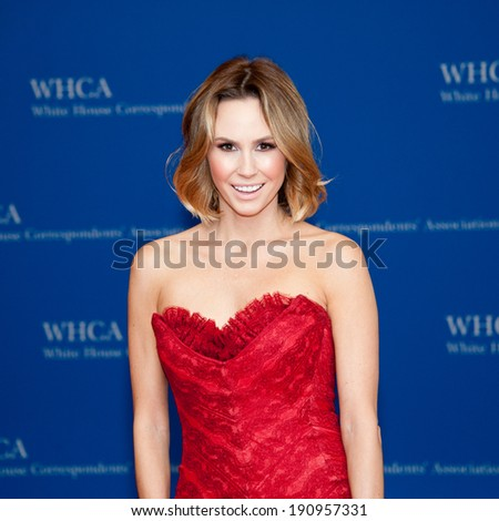 WASHINGTON MAY 3 -�� Keltie Knight arrives at the White House Correspondents� Association Dinner May 3, 2014 in Washington, DC - stock photo