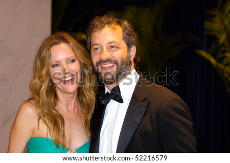 WASHINGTON MAY 1 - Leslie Mann and husband Judd Apatow arrive at the White House Correspondents Association Dinner May 1, 2010 in Washington, D.C. - stock photo