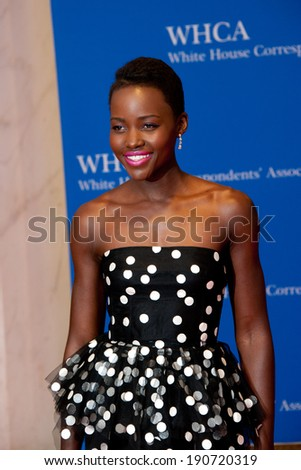 WASHINGTON MAY 3 � Lupita Nyong'o arrives at the White House Correspondents� Association Dinner May 3, 2014 in Washington, DC - stock photo