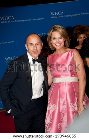 WASHINGTON MAY 3 -�� Matt Lauer and Savannah Guthrie arrive at the White House Correspondents� Association Dinner May 3, 2014 in Washington, DC - stock photo