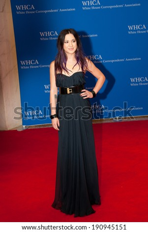 WASHINGTON MAY 3 -�� Michelle Branch arrives at the White House Correspondents� Association Dinner May 3, 2014 in Washington, DC - stock photo