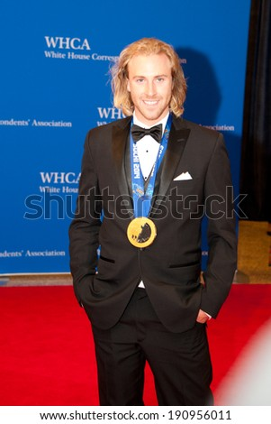 WASHINGTON MAY 3 - Olympic gold medalist Sage Kotsenburg arrives at the White House Correspondents� Association Dinner May 3, 2014 in Washington, DC - stock photo
