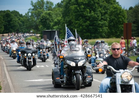WASHINGTON â?? MAY 29: Riders take part in Rolling Thunder, a motorcycle rally to bring attention to POWs and MIAs of US-involved wars, on May 29, 2016 in Washington, DC.   - stock photo