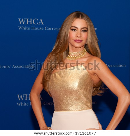 WASHINGTON MAY 3 - Sofia Vergara arrives at the White House Correspondents� Association Dinner May 3, 2014 in Washington, DC - stock photo
