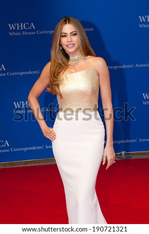 WASHINGTON MAY 3 � Sophia Vergara arrives at the White House Correspondents� Association Dinner May 3, 2014 in Washington, DC - stock photo