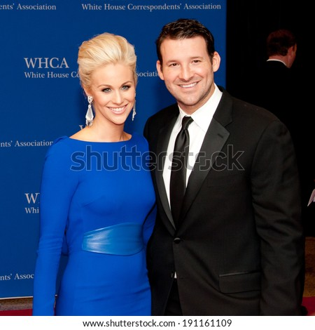 WASHINGTON MAY 3 - Tony Romo and wife Candice Crawford arrive at the White House Correspondents� Association Dinner May 3, 2014 in Washington, DC - stock photo