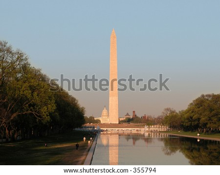 Washington Monument and Capital Building, Washington D.C. - stock photo