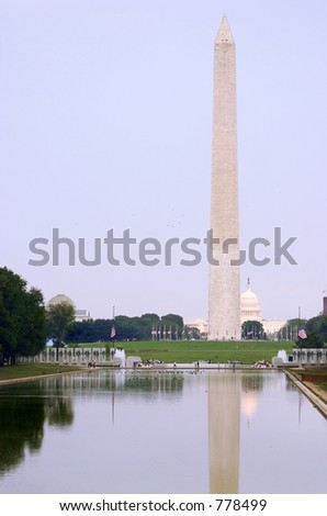 Washington monument and Capitol reflected in a pool just before sunset  (USA)