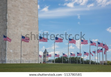 Washington Monument and circle of flags
