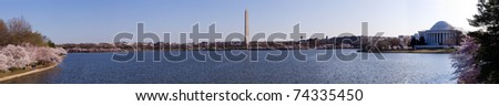 Washington Monument and Jefferson Memorial in panorama of Tidal Basin and surrounded by pink Japanese Cherry blossoms - stock photo