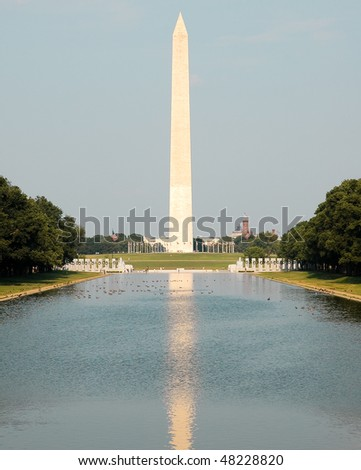 Washington Monument and reflecting pool - stock photo