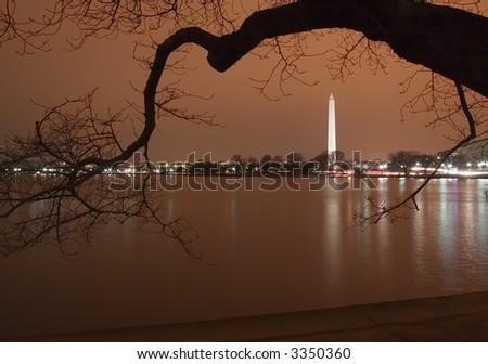 Washington Monument at Night - stock photo