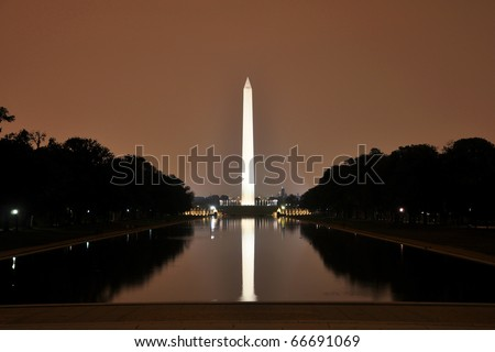 Washington Monument at night, view from Lincoln Memorial in the center of Washington DC