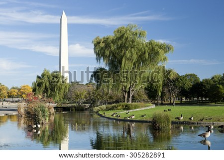 Washington Monument at Sunset - stock photo