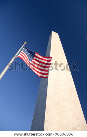 Washington Monument at Sunset w US Flag - stock photo