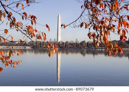 Washington Monument in autumn, Washington DC - stock photo