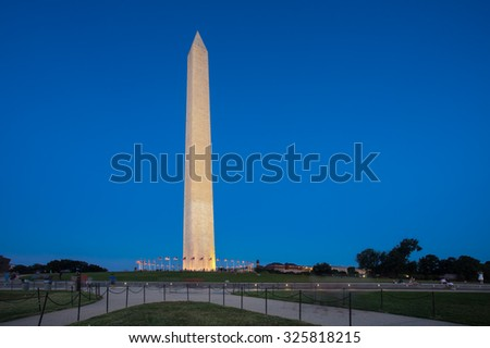 Washington Monument in DC seen at twilight