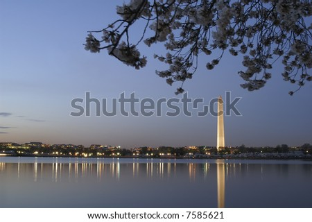 Washington Monument in the Spring at Sunset Horizontal - stock photo