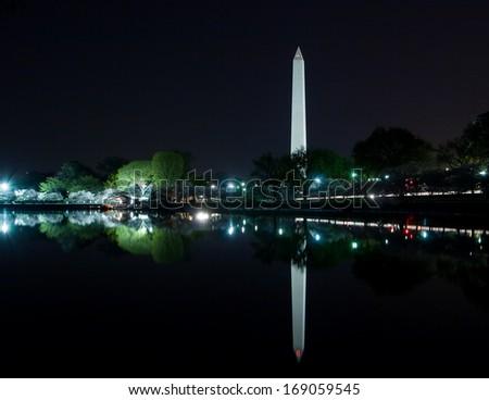 Washington Monument reflecting on the Tidal Basin, Washington DC - stock photo