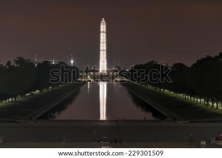 Washington Monument with Scaffolding at night, Washington, DC. - stock photo